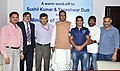Beni Prasad Verma with two Indian wrestlers, Sushil Kumar and Yogeshwar Dutt, at a send-off ceremony, in New Delhi. The Secretary (Steel), Shri D.R.S. Chaudhary and the SAIL Chairman, Shri C.S. Verma are also seen.jpg