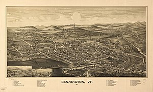 View of Bennington, Vermont, USA, as of 1887. ...