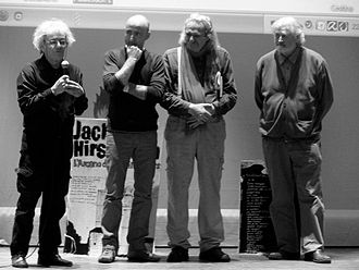 Jack Hirschman - Beppe Costa with Leonardo Omar Onida, Jack Hirschman and Paul Polansky in civic Theatre during Ottobre in poesia festival, Sassari, Italy (2011)