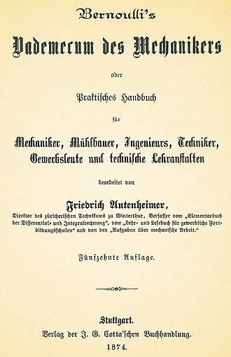 Handbook - A German 1874 handbook for mechanics, millwrights, engineers, technicians, trades people and technical schools