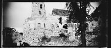 Panoramic view of the ruins of the church of Berzy-le-Sec (Aisne) in 1918. Photograph by Raoul Berthele, Archive of Toulouse
