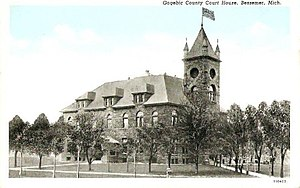 Gogebic County, Michigan - Gogebic County Courthouse circa 1920