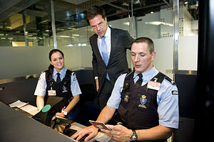 Royal Marechaussee - Prime minister Mark Rutte (center) visits members of the marechaussee at Amsterdam Airport Schiphol