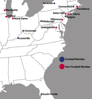 Big East Conference (1979–2013) - Locations of the Big East Conference full member institutions for the conference's final academic year (2012-13).