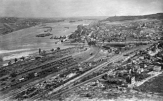 Bingen (Rhein) Hauptbahnhof - Bingerbrück area following bombing in the autumn of 1945