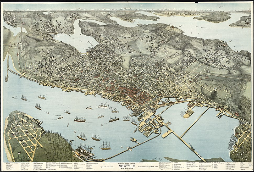 Birds-eye-view of Seattle and environs King County, Wash., 1891. LOC 75696663