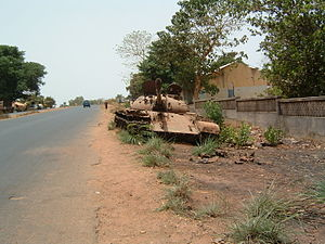 Guinea-Bissau - An abandoned tank from the 1998–1999 civil war in the capital Bissau, 2003.