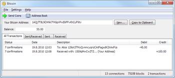 Programma Bitcoin in esecuzione sotto Windows 7