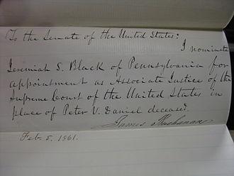 Jeremiah S. Black - President Buchanan's 1861 letter nominating Jeremiah Black to the U.S. Supreme Court