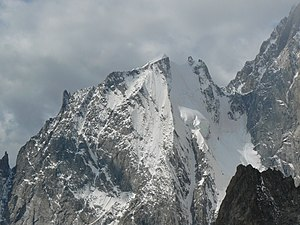 Aiguille Blanche de Peuterey - The north face of the Aiguille Blanche de Peuterey with its three summits, seen from the Pointe Helbronner