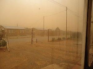 Bloemfontein - A dust storm envelops Bloemfontein
