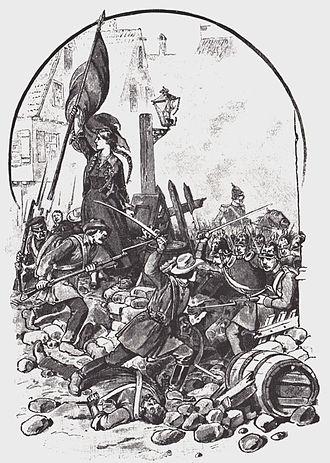 Palatine uprising - Battle of Kirchheimbolanden on 14 June 1849; with the flag of Mathilde Hitzfeld