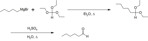 Bodroux-Chichibabin aldehyde synthesis of n-hexaldehyde.png