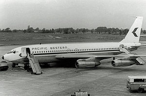 Pacific Western Airlines - PWA Boeing 707-138B at Manchester Airport in 1969