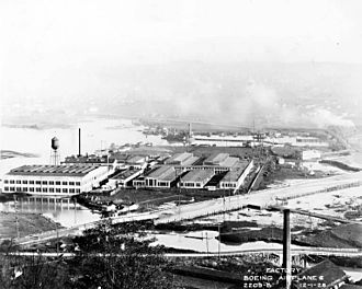 Boeing Plant 1 - Aerial view of Boeing Plant 1 in 1928