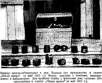 Kamo (Bolshevik) - Bombs found in 1907 in a Bolshevik explosives lab in Finland