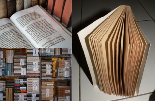 Book medium for a collection of words and/or pictures to represent knowledge or a fictional story, often manifested in bound paper and ink, or in e-books