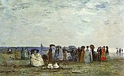 Bathers on the Beach at Trouville. 1869.  Eugène Boudin. Oil on wood. Musée d'Orsay. Paris.