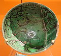 Bowl with a sphinx or Buraq (the Prophet's mount), Iran, 11th-12th century, slip-excised earthenware - Royal Ontario Museum - DSC04643.JPG