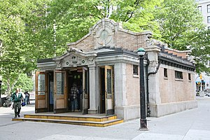 Bowling Green (IRT Lexington Avenue Line) - Station headhouse on Battery Park dates to 1905