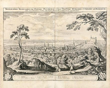 Pressburg in the 17th century Bratislava (Posonium) by Matthaus Merian 1638.jpg