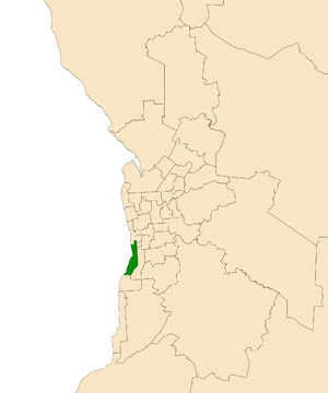 Electoral district of Bright - Electoral district of Bright (green) in the Greater Adelaide area