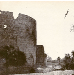 British RAF Venom attacking Nizwa Fort during Jebel Akhdar War