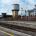 Brown and beige former water tower, Cardiff Central railway station.jpg