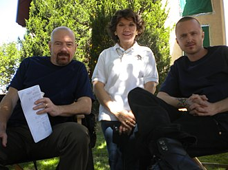 "Donna Nelson - Dr. Donna J. Nelson, science advisor to AMC's television series ""Breaking Bad"" stands between Bryan Cranston (left) and Aaron Paul, during a set visit in Albuquerque, NM., in May 2013."