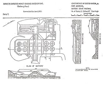 12-inch coast defense mortar - This later plan for Battery Whitman at Ft. Andrews enlarged the pits and kept only half of the original battery.