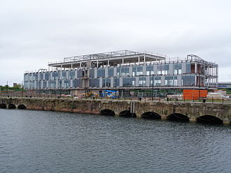 Wirral Waters - The Tower Wharf redevelopment, adjacent to Egerton Dock in May 2015.