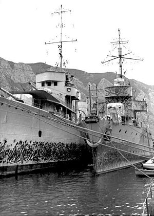 two naval ships side by side alongside a dock with mountains in the background