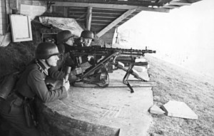 Dieppe Raid - A German MG34 medium machine gun emplacement