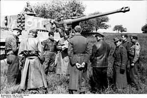 101st SS Heavy Panzer Battalion - SS-Sturmbannführer von Westernhagen at a practice in May 1944 near Beauvais