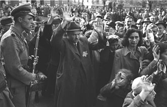 Government of National Unity (Hungary) - Jews being rounded up in Budapest, October 1944.