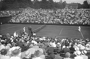 Hans Moldenhauer - Hans Moldenhauer (right) plays in Davis Cup against Bill Tilden (USA). July 1929