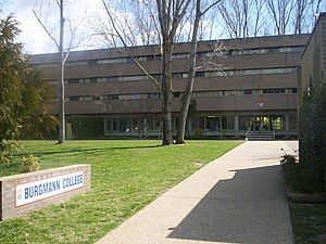 Residential colleges of the Australian National University - Burgmann from the front lawn.