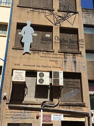 James Charles Burnett - James Charles Burnett is commemorated with street art in Burnett Lane, Brisbane, 2015