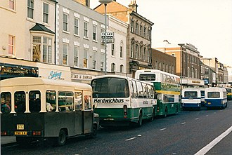Bus deregulation in Great Britain - Buses competing for passengers in Stockton-on-Tees in February 1988