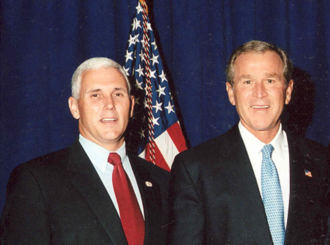 Representative Pence with President George W. Bush Bush and Pence.png