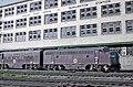 CGW 155 and 152 (F7As) Passenger Train 13, the Nebraska Limited pulling into Burlington Station in Omaha, NE on August, 8, 1962 (22254990909).jpg