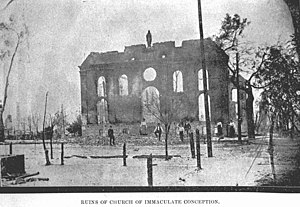 Basilica of the Immaculate Conception (Jacksonville) - Ruins of the Church of the Immaculate Conception after the Great Fire of 1901.