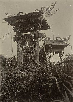 Kenyah people - Kenyah architecture, circa 1898-1900.
