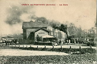 Crécy-en-Ponthieu - The station shown on an old postcard