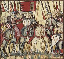 A drawing showing Muhammad I (in red tunic and red shield) leading his troops during the Mudéjar revolt of 1264–66