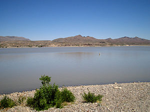 Rio Grande Project - Caballo Lake, formed by Caballo Dam on the Rio Grande