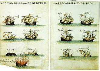 2nd Portuguese India Armada (Cabral, 1500) - Fleet of the 2nd India Armada (Cabral, 1500), from the Livro de Lisuarte de Abreu