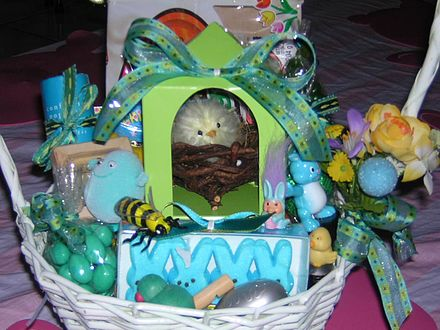 Marshmallow rabbits, candy eggs and other treats in an Easter basket Candy eggs in an Easter basket.JPG