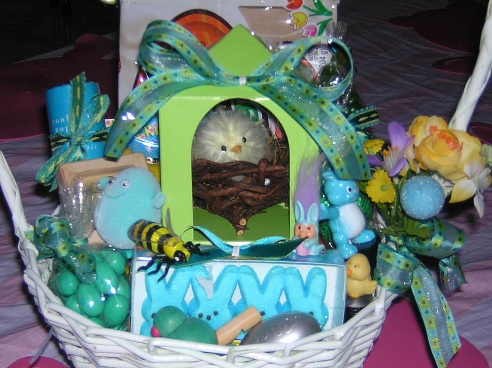 Candy eggs in an Easter basket