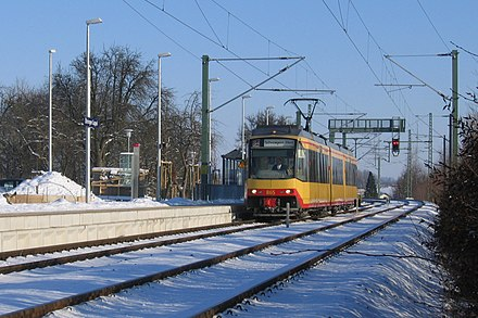 On the Karlsruhe Stadtbahn, trams sometimes share mainline tracks with heavy rail trains